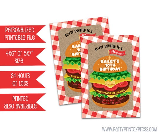 printable cheeseburger invitations babyq picnic invite bbq