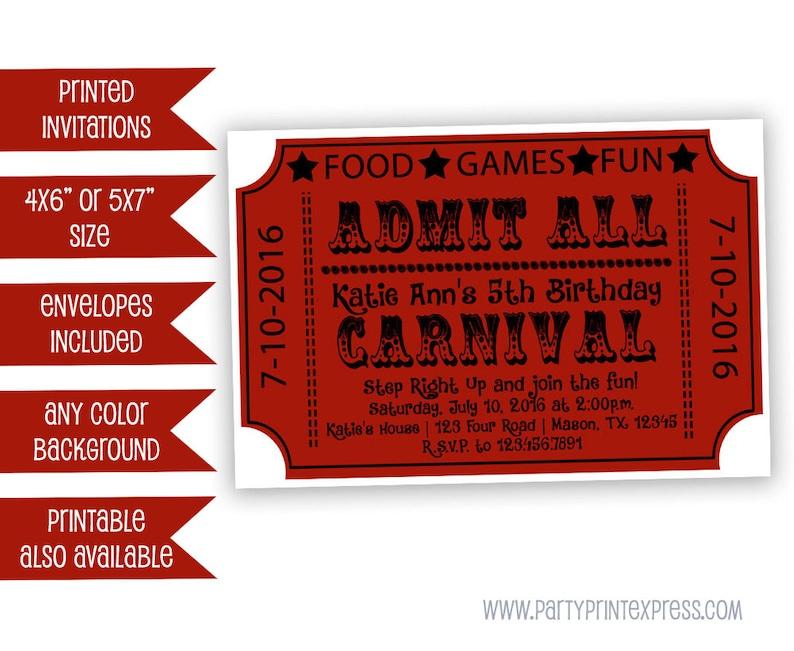 Carnival Ticket Invitations Birthday Invitation