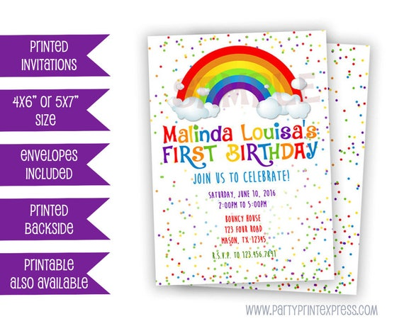 rainbow confetti birthday invitation rainbow invitation rainbow