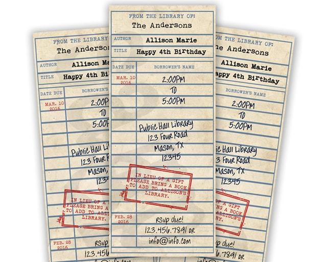 Library Card Invitations Book Theme Party Build A Invite