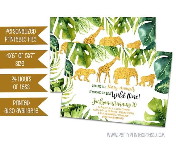 Printable Jungle Invitation Gold Safari Birthday Invitations Safari 1st Birthday Party Wild Party Animal Invitation Gold Jungle