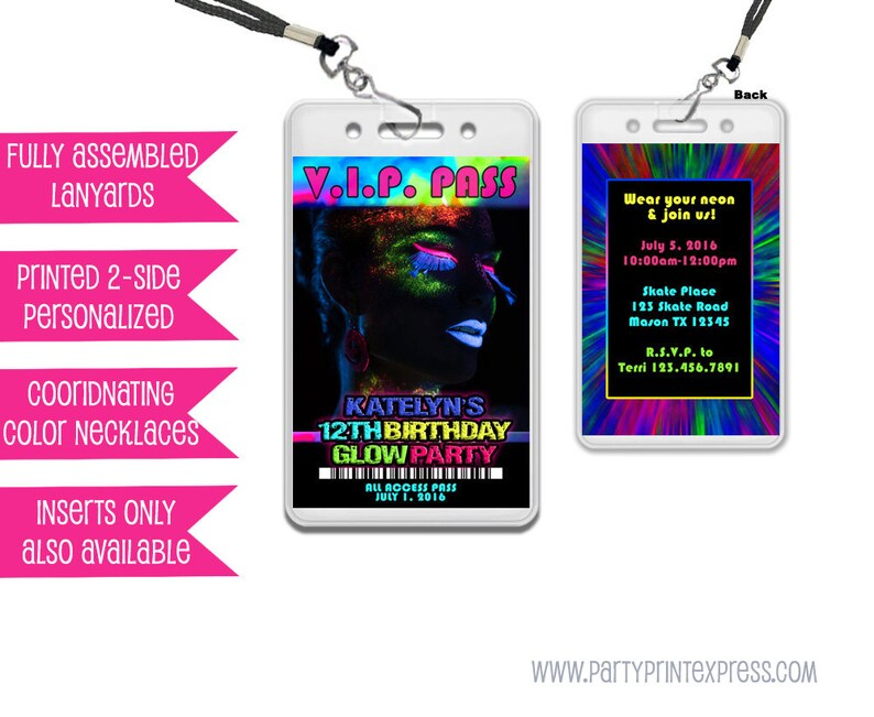 Glow Party Invitations Glow Party VIP Pass Girl Glow In The Dark ... d6b9f02c0e1