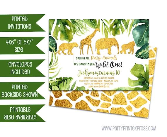 gold safari invitations safari 1st birthday invitation etsy