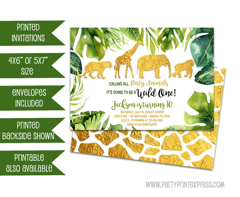 763c59b1975 Gold Safari Invitations Safari 1st Birthday Invitation