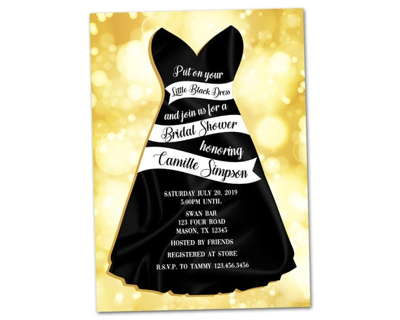 Little Black Dress Bridal Shower Invitations Black And Gold Etsy