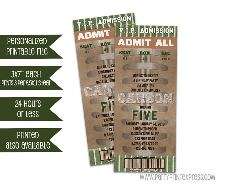 Printable Football Birthday Invitations Football Ticket Invitations Football Admission Ticket Invitation Boy Birthday Party Diy