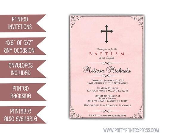 pink baptism invitation pink christening invite girl etsy