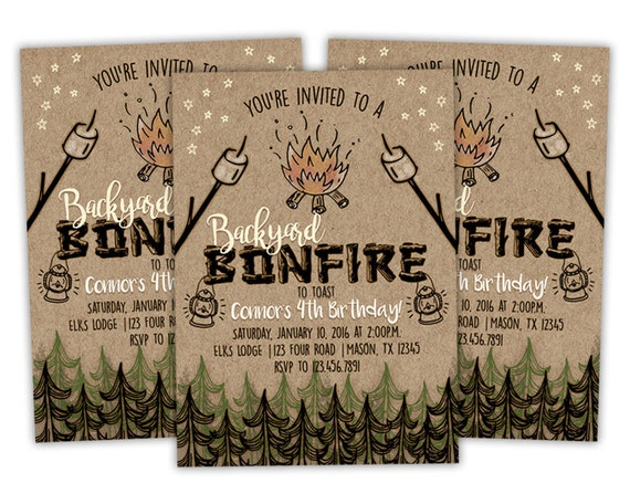 Printable Bonfire Birthday Invitation Bonfire Invitations Etsy