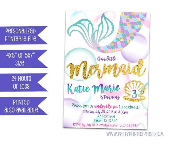 picture about Printable Mermaid Invitations called Printable Mermaid Invitation - Mermaid Birthday Invites