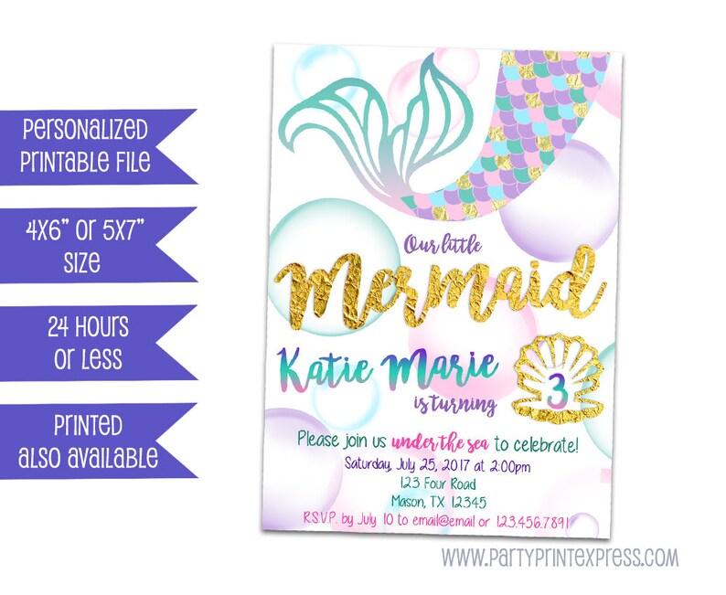 Printable Mermaid Invitation Birthday Invitations