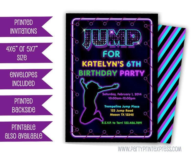Jump Invitations Purple Neon Girl Trampoline Park Birthday