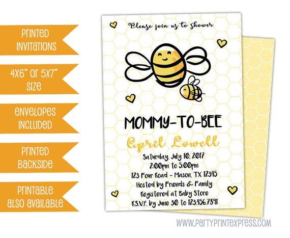 Bee baby shower invitation mommy to bee invitations gender etsy image 0 filmwisefo