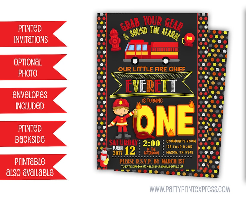Fireman Invitations Fireman Birthday Invitation Fire Truck Etsy