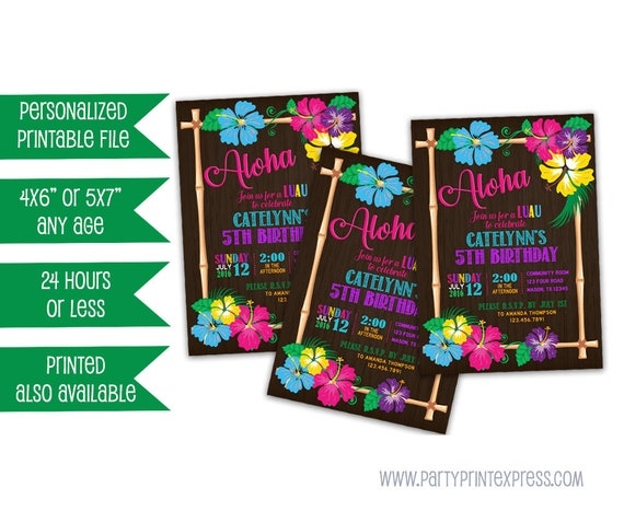 photo relating to Printable Luau Invitations identify Printable Luau Birthday Invitation - Luau Aloha Birthday Invitation - Female Pool Bash Invite - Luau Get together invitations - Neon Hibiscus