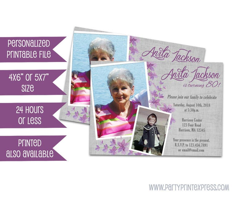 Printable 75th Birthday Invitation For Women Adult Then And