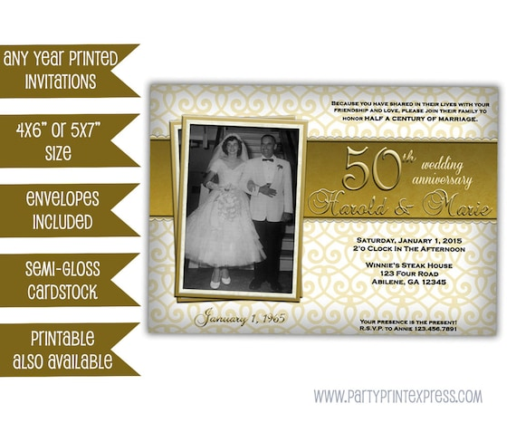 50th Wedding Vow Renewal Invitations: Golden 50th Wedding Anniversary Party Invitations Photo
