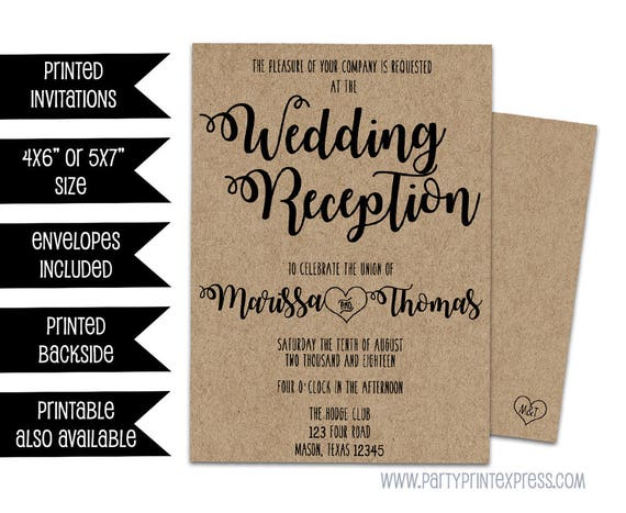 Wedding Reception Invitation Kraft Wedding Reception Invitations