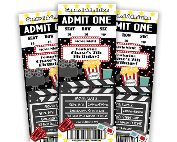 Printable Movie Ticket Invitation Movie Birthday Party