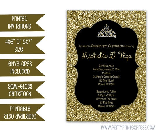 gold glitter sweet 16 invitation black and gold sweet 16 etsy