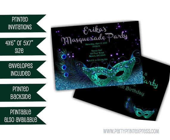 Teal Masquerade Invitation Blue Glitter Mardi Gras Mask Invite