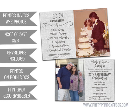 25th anniversary invitations silver wedding anniversary party