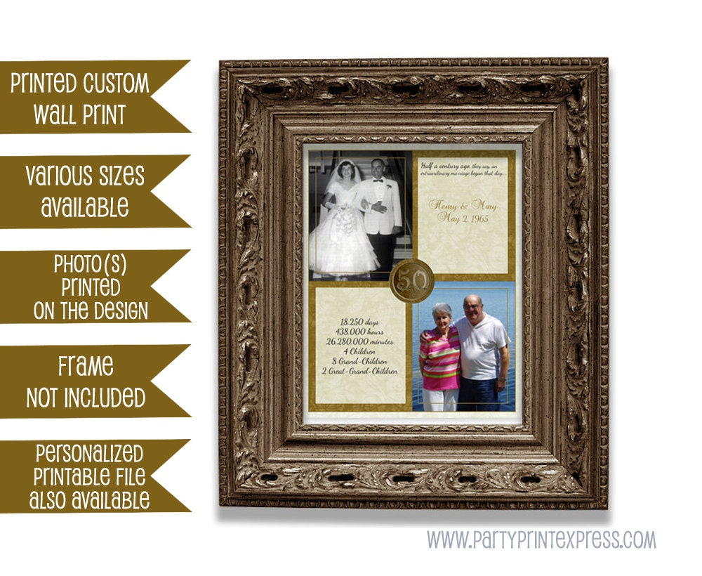 50th Golden Wedding Anniversary Gifts: 50th Wedding Anniversary Gift Then And Now Photos Couple