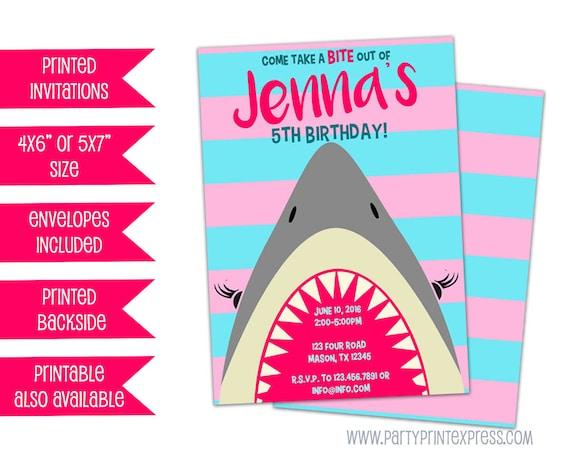 girl shark birthday invitation pink shark party invitations girl