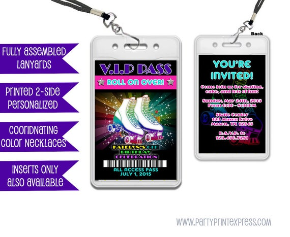 vip pass roller skating invitations roller skating birthday