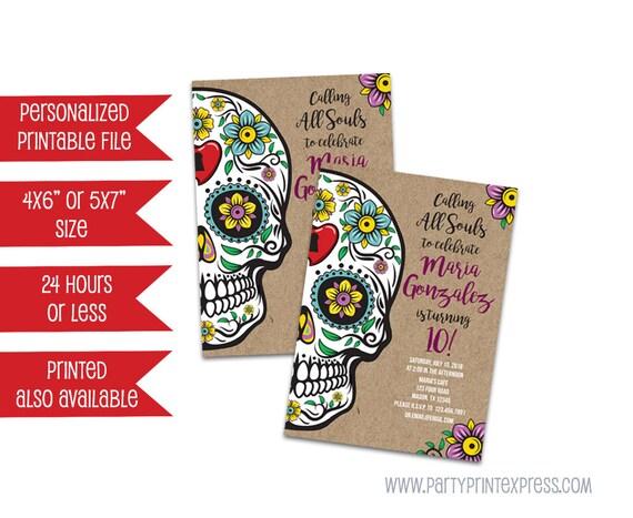 Printable Sugar Skull Invitations Day Of The Dead Invitation