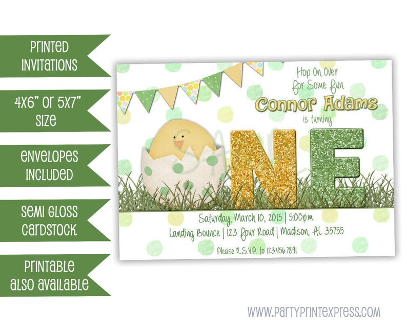 97334e3f3d8 Boy Easter First Birthday Invitation Bunny Spring 1st