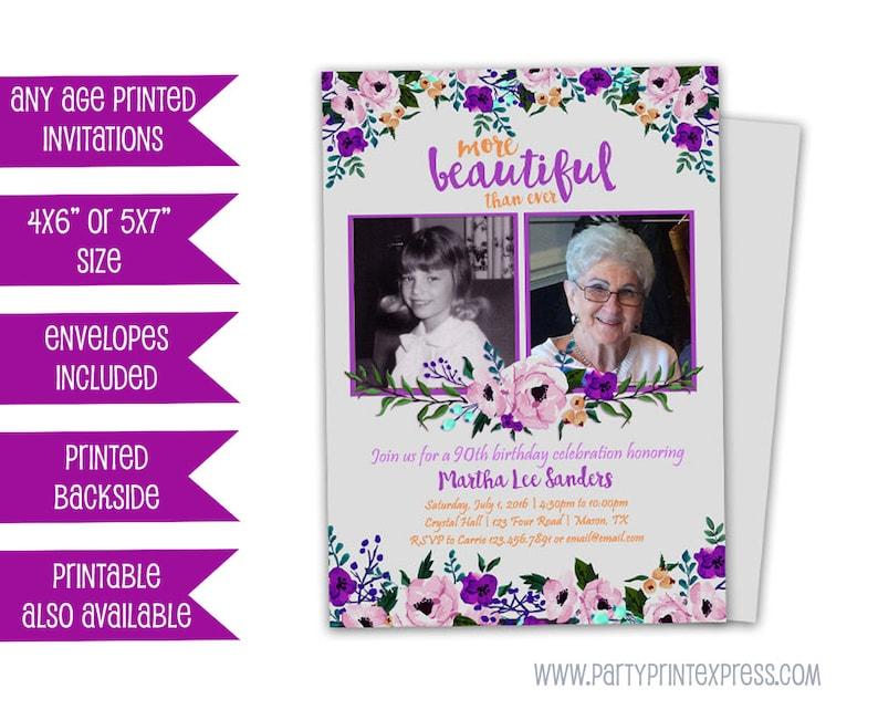Purple Birthday Invitations Ladies Floral Invitation 90th