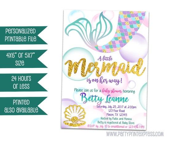 Printable Mermaid Baby Shower Invitation Mermaid Baby Shower Etsy