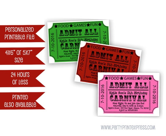printable carnival birthday ticket invitation carnival party