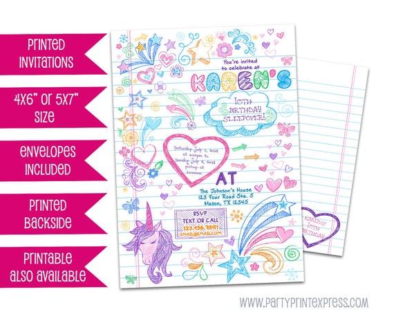 Notebook Doodle Invitation Sleepover Invitations Notebook