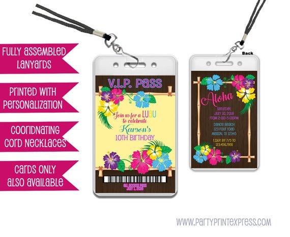 luau birthday vip pass invitations luau party invites lanyard