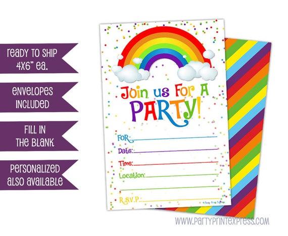 sale 10ct printed rainbow invitations rainbow birthday etsy