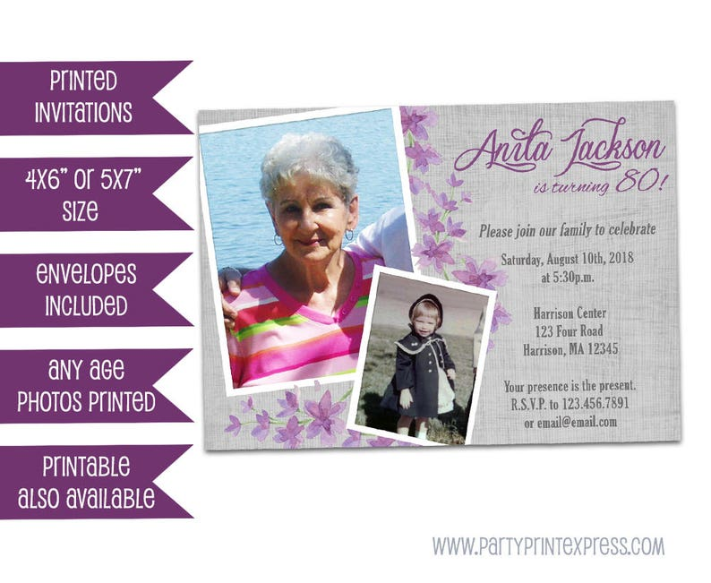 Purple 80th Birthday Invitation Woman Photo Adult