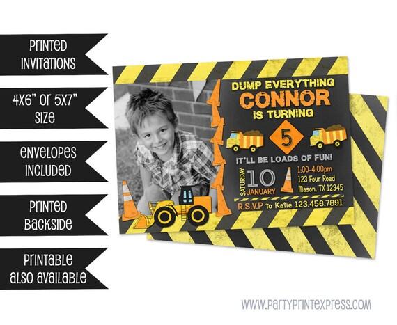 Construction Birthday Invitations - Construction Party Invitation - Dump Truck Invite - Boy Construction Party - Photo Invitations - Fast
