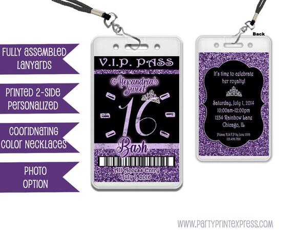 Purple Sweet 16 VIP Invitation