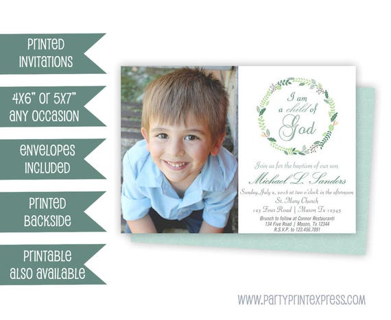 Photo Boy Baptism Invitation Blue Baptism Invitations Boy Etsy
