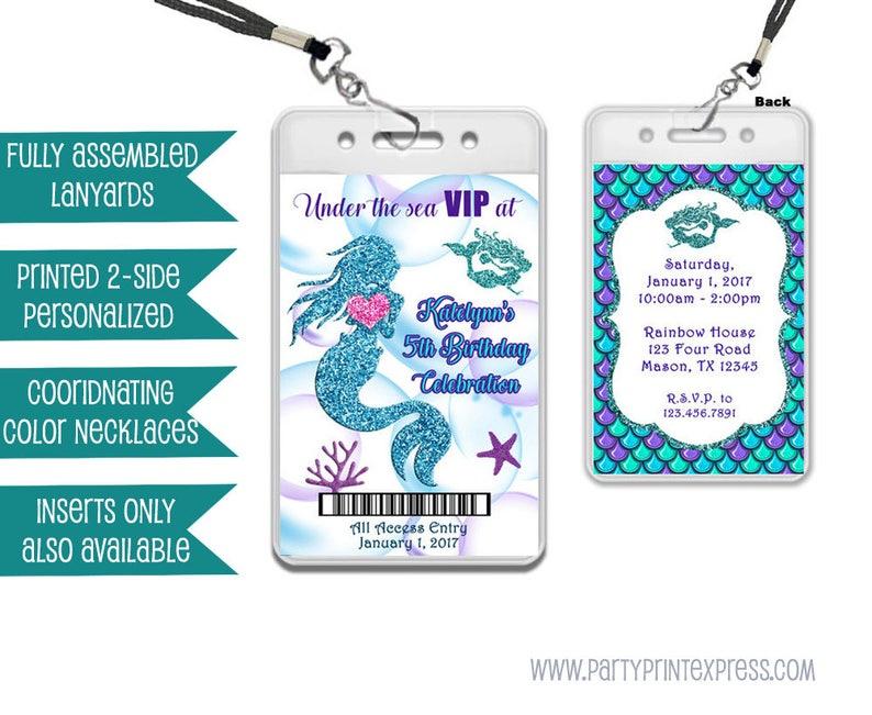 Mermaid Vip Pass Lanyard Invitations Under The Sea Vip Etsy