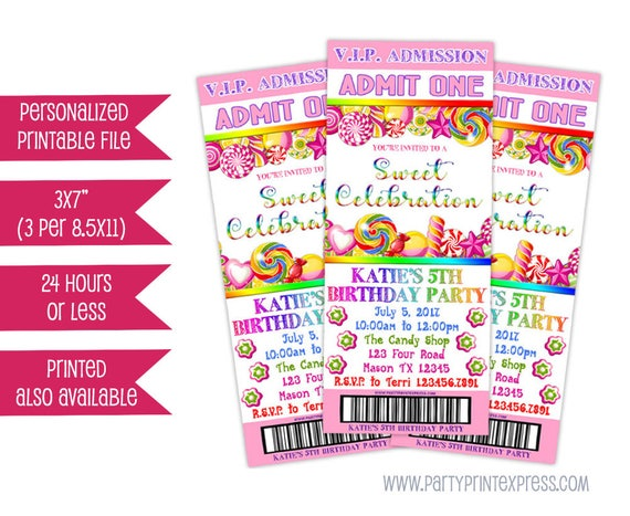 Printable Candy Admission Ticket Invitations Pink Candy Etsy