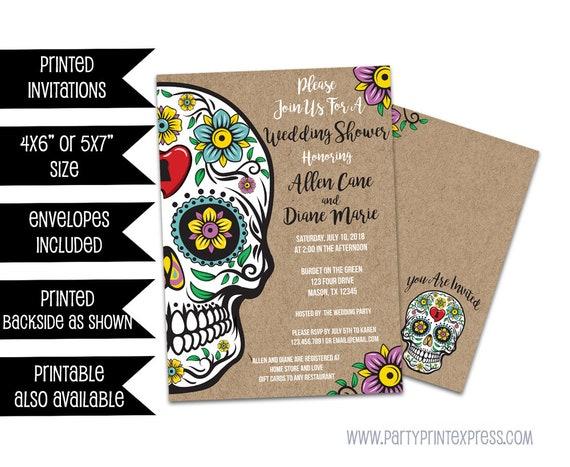 Sugar Skull Wedding Invitations Sugar Skull Bridal Shower   Etsy