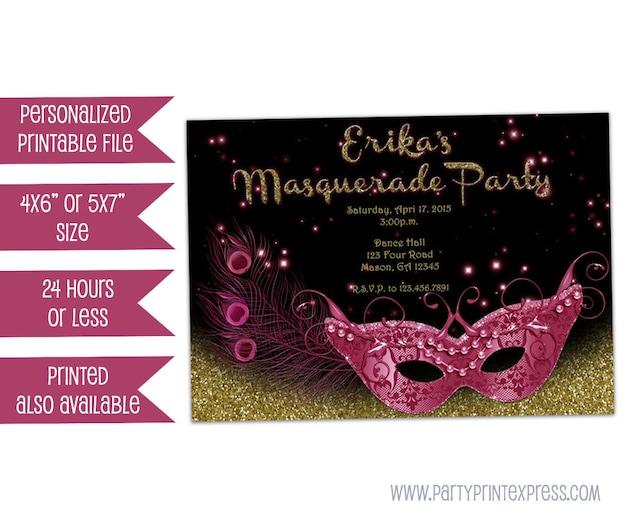 Printable Masquerade Invitation