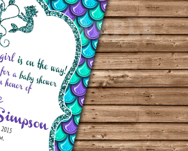 photograph about Printable Mermaid Baby Shower Invitations called Printable Mermaid Youngster Shower Invites - Less than The Sea