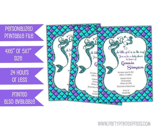 photograph regarding Printable Mermaid Invitations identified as Printable Mermaid Youngster Shower Invites - Underneath The Sea