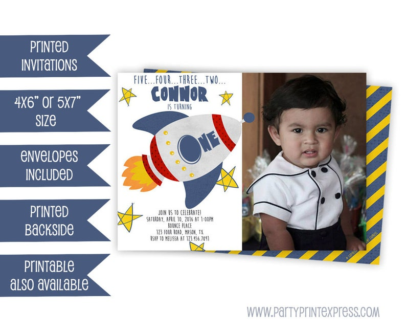 Boy 1st Birthday Invitations Rocket Birthday Invites Space Etsy