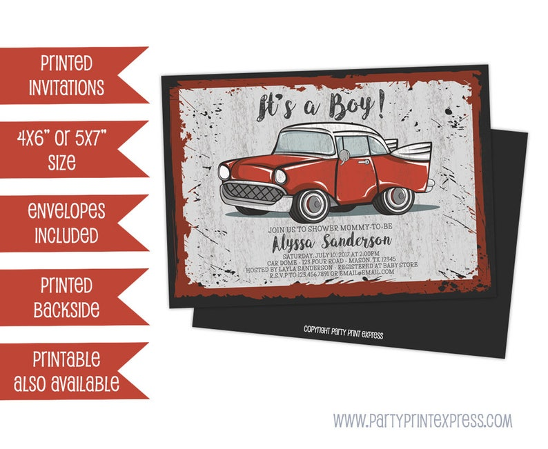 Vintage Red Car Baby Shower Invitations Retro Red Truck Baby Shower Invitations Retro Boy Baby Shower Invites Printed Invitations