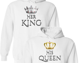 7334ffe8d6 Her King & His Queen - Matching Couple Pullover Hoodies - Outfits -  Pullover Hooded Sweatshirts