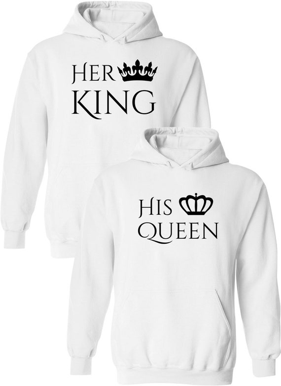 Her King & His Queen Matching Couple Pullover Hoodies Outfits Pullover Hooded Sweatshirts